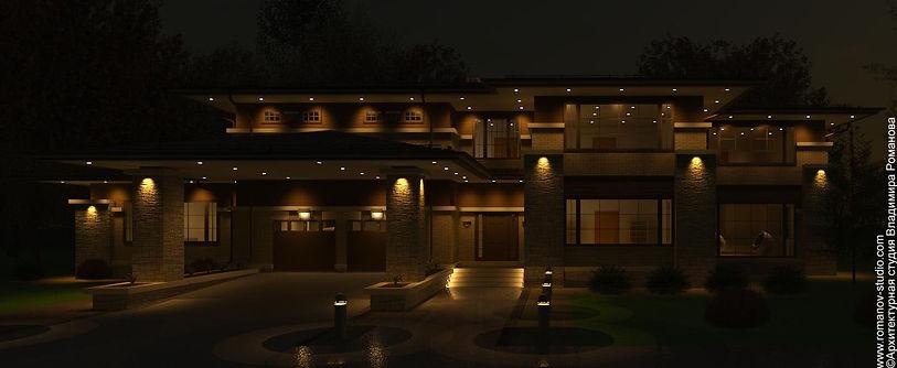 Дом в стиле прерий. Вид ночью