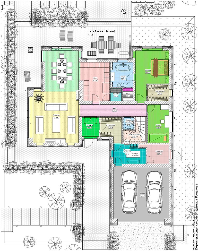 План 1 этажа дома с мансардой