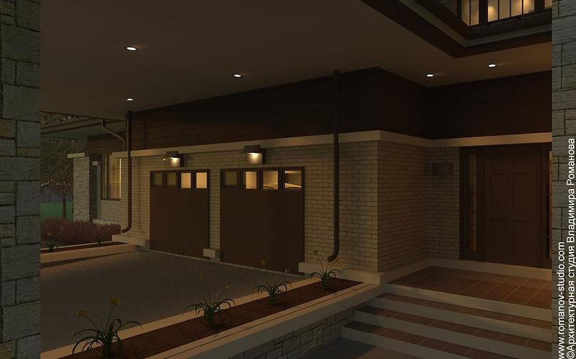 Дом в стиле прерий. Вид ночью на главный вход