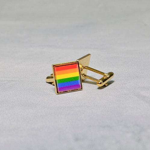 Cuff Links - Square Rainbow