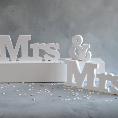 Stand White Sign Mrs & Mrs