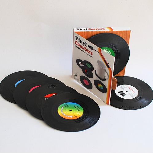 Vinyl Style Coaster Set