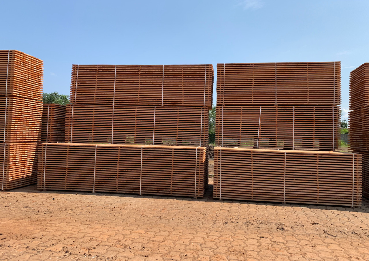 OKOUME sawn timber before entering the dryers