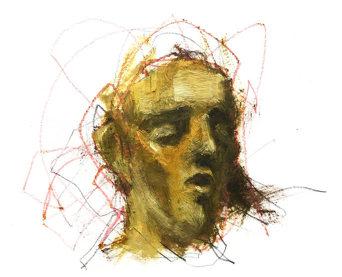 Untitled, Oil on paper board  +/-12x12cm /4,9x4,3inch