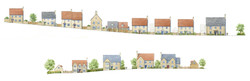 Norton St Philip, Somerset - street elevations with traditional & classical houses