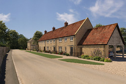 Street scene with new traditional housing in Ham stone