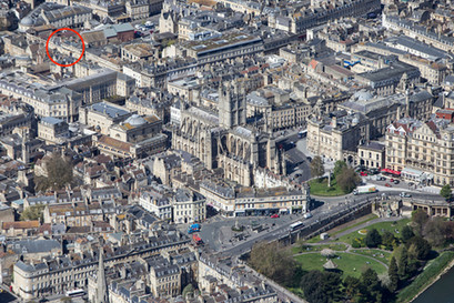 Aerial view of Bath showing location of James Armitage Architects