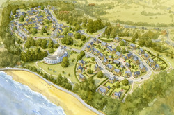 Harcourt Sands, Isle of Wight - aerial view of traditional masterplan for houses and hotel