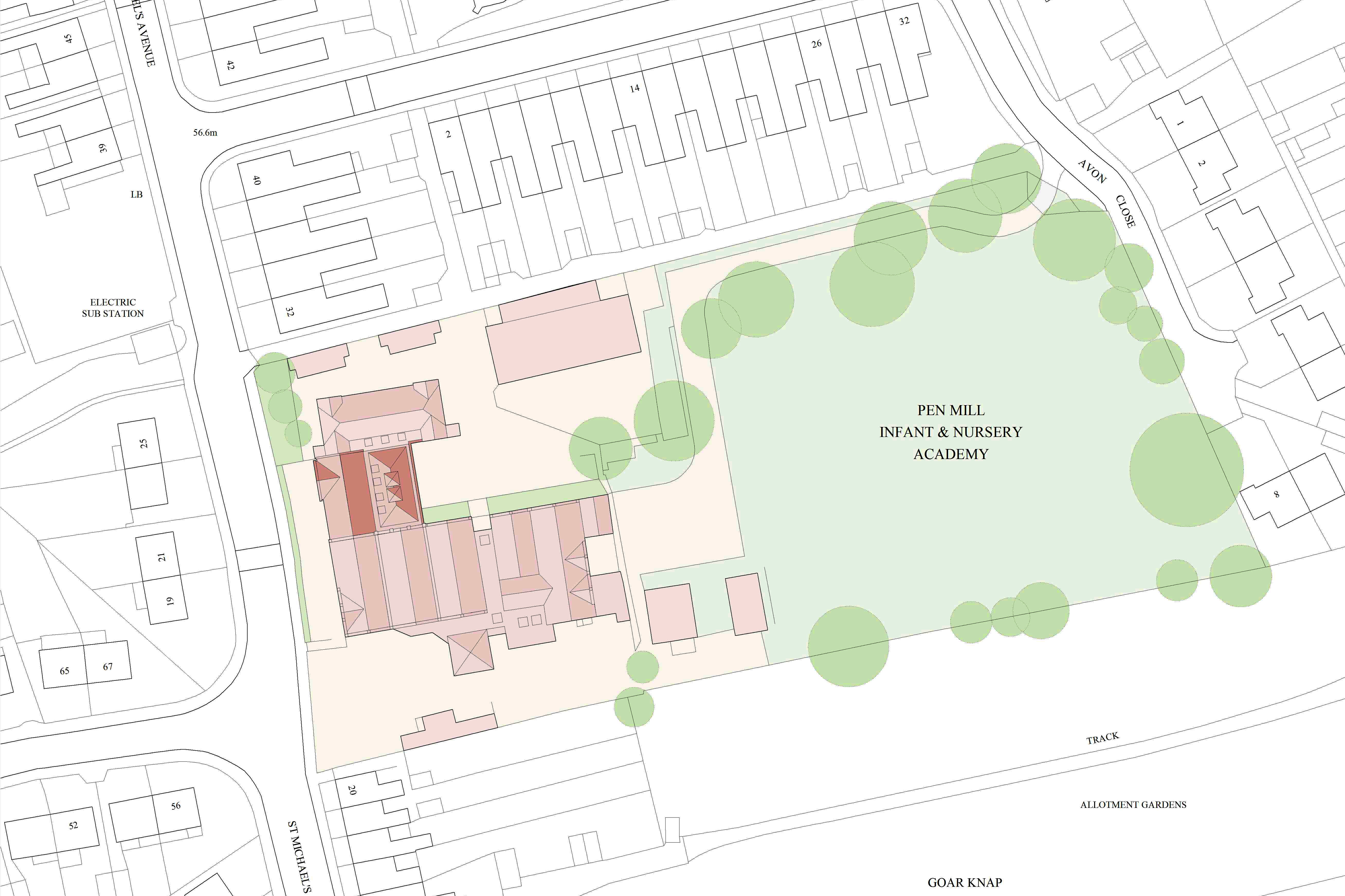 Pen Mill School, Yeovil, Somerset - site plan showing new classroom extensions