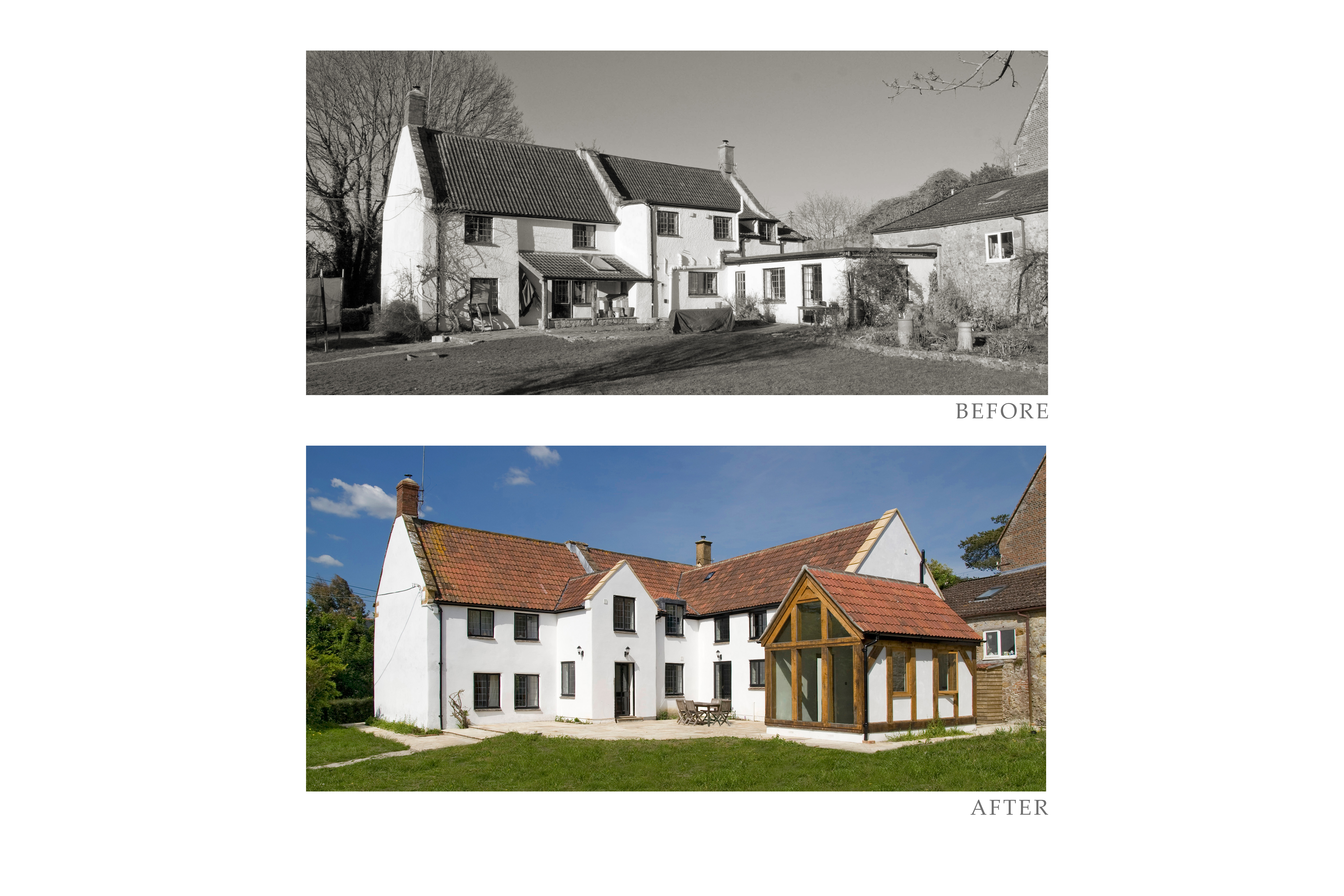 Conservation & extensions to a listed house near Ilminster, Somerset - before and after