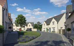 Norton St Philip, Somerset - East Site with traditional rendered houses around a small green