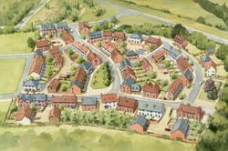 Drummond Park housing masterplan, Ludgershall, Wiltshire - aerial