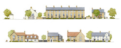 Mallets Park, Cambridge - elevations of traditional houses