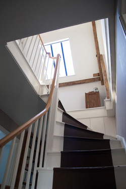 Conservation of a listed Georgian house in Martock, Somerset - staircase with new rooflight