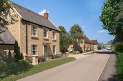 Traditional street scene of housing at Hinton St George, Somerset