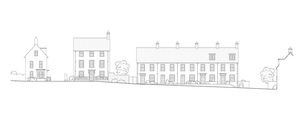 Street elevation, site near Exeter, Devon