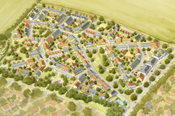 Traditional masterplan for Mallets Park, Cambridge - aerial