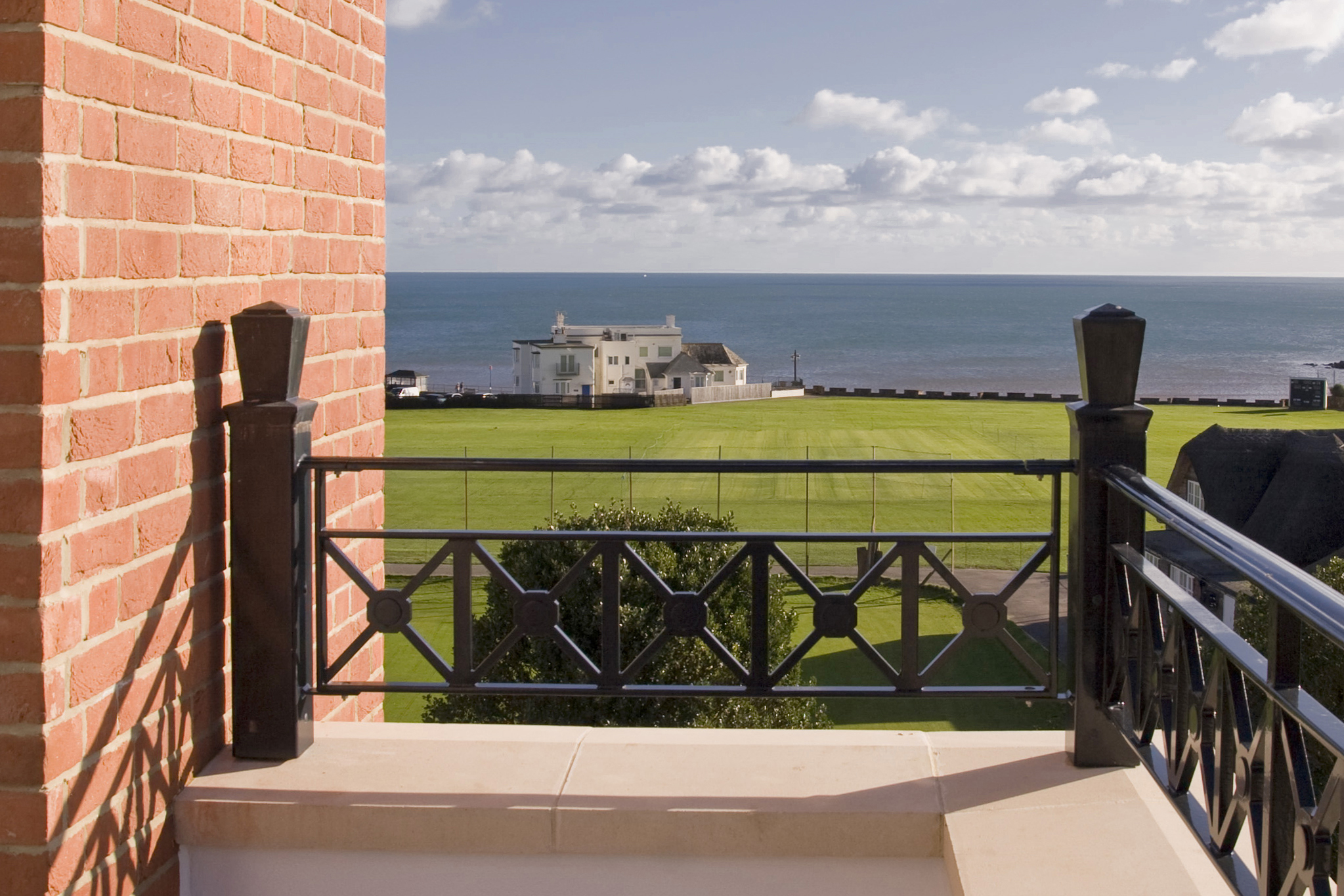 Sanditon apartments, Sidmouth, Devon - terrace view looking towards the seafront