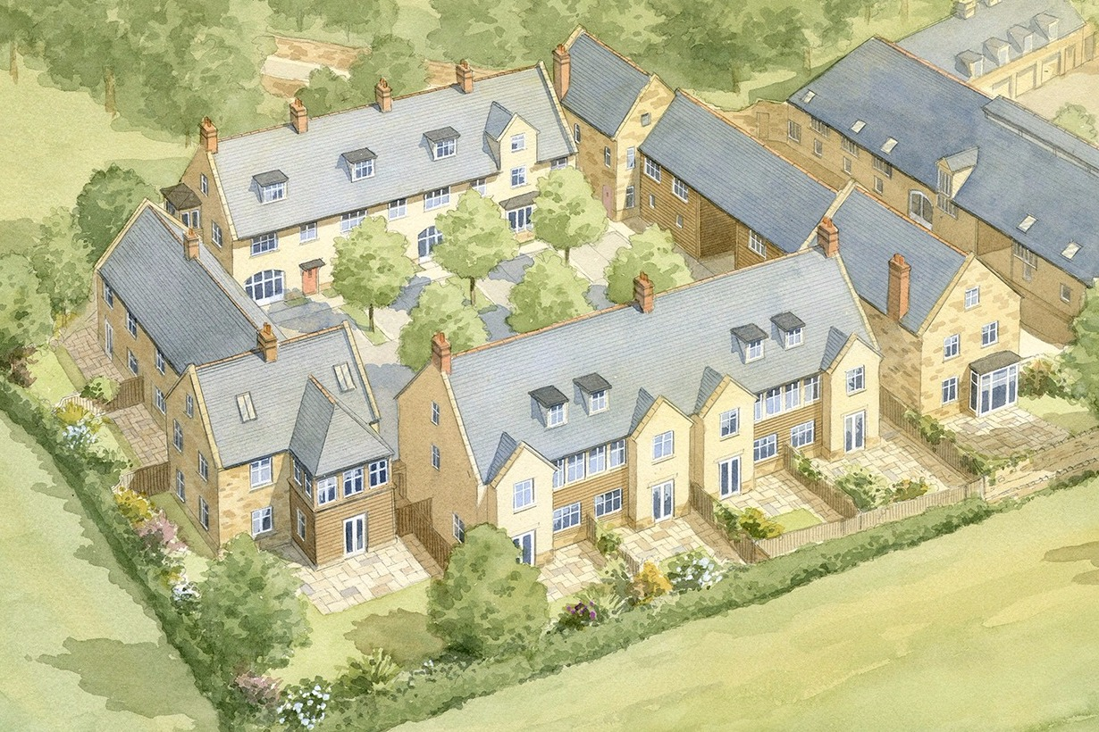Tail Mill housing masterplan, Merriott, Somerset - traditional houses arranged around a courtyard
