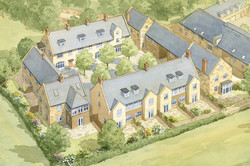 Tail Mill housing masterplan, Merriott, Somerset - traditional houses arranged around a courtyard