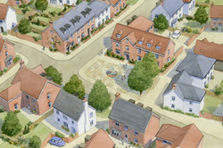 Housing masterplan, Maidenhead, Berkshire - square surrounded by traditional houses