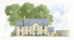 New classical house, Tisbury, Wiltshire - front elevation featuring lime render and stone dressings