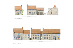 Traditional stone houses on in Somerton, Somerset - street elevations