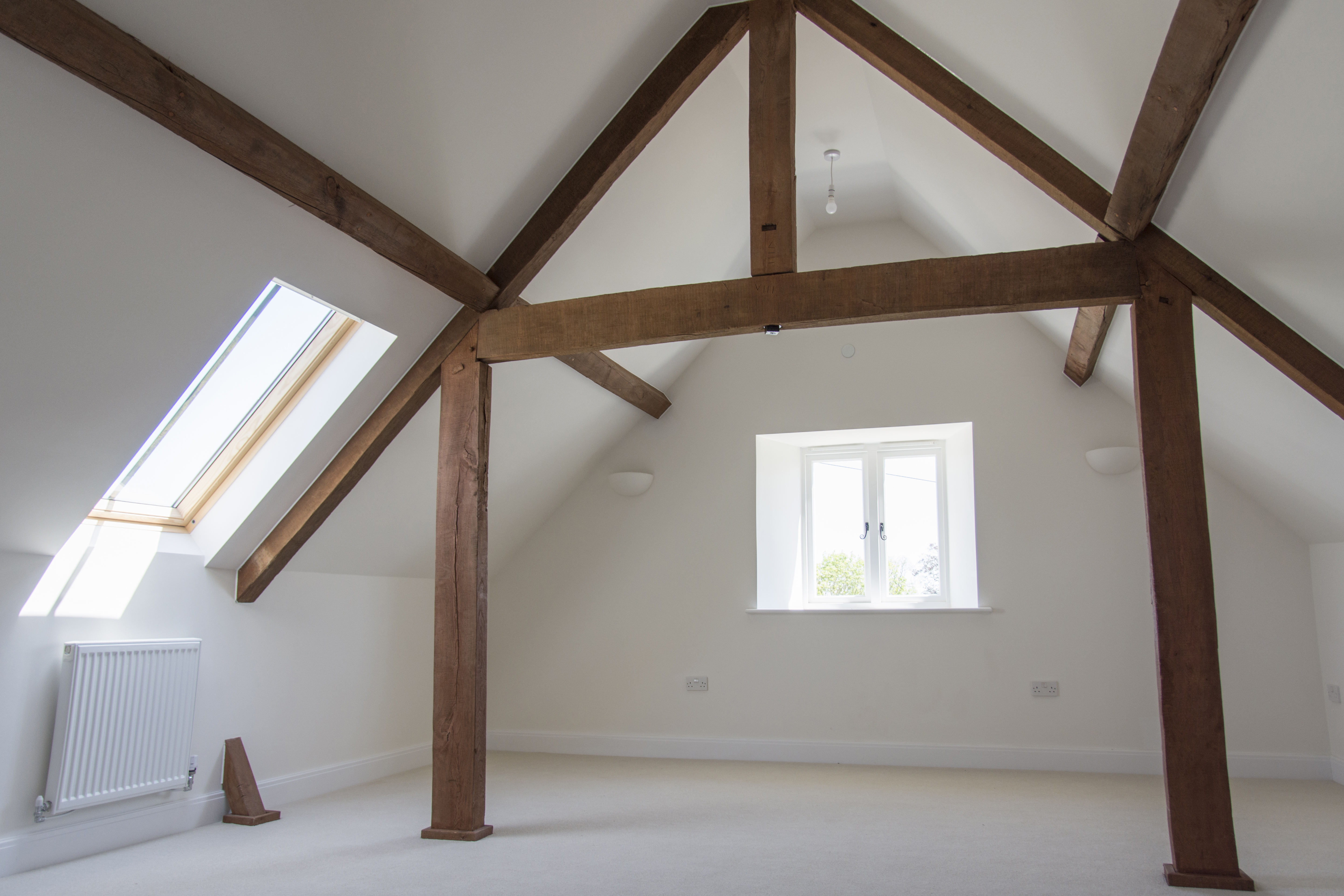 Tail Mill conversion and conservation, Merriott - The listed warehouse - attic timber trusses