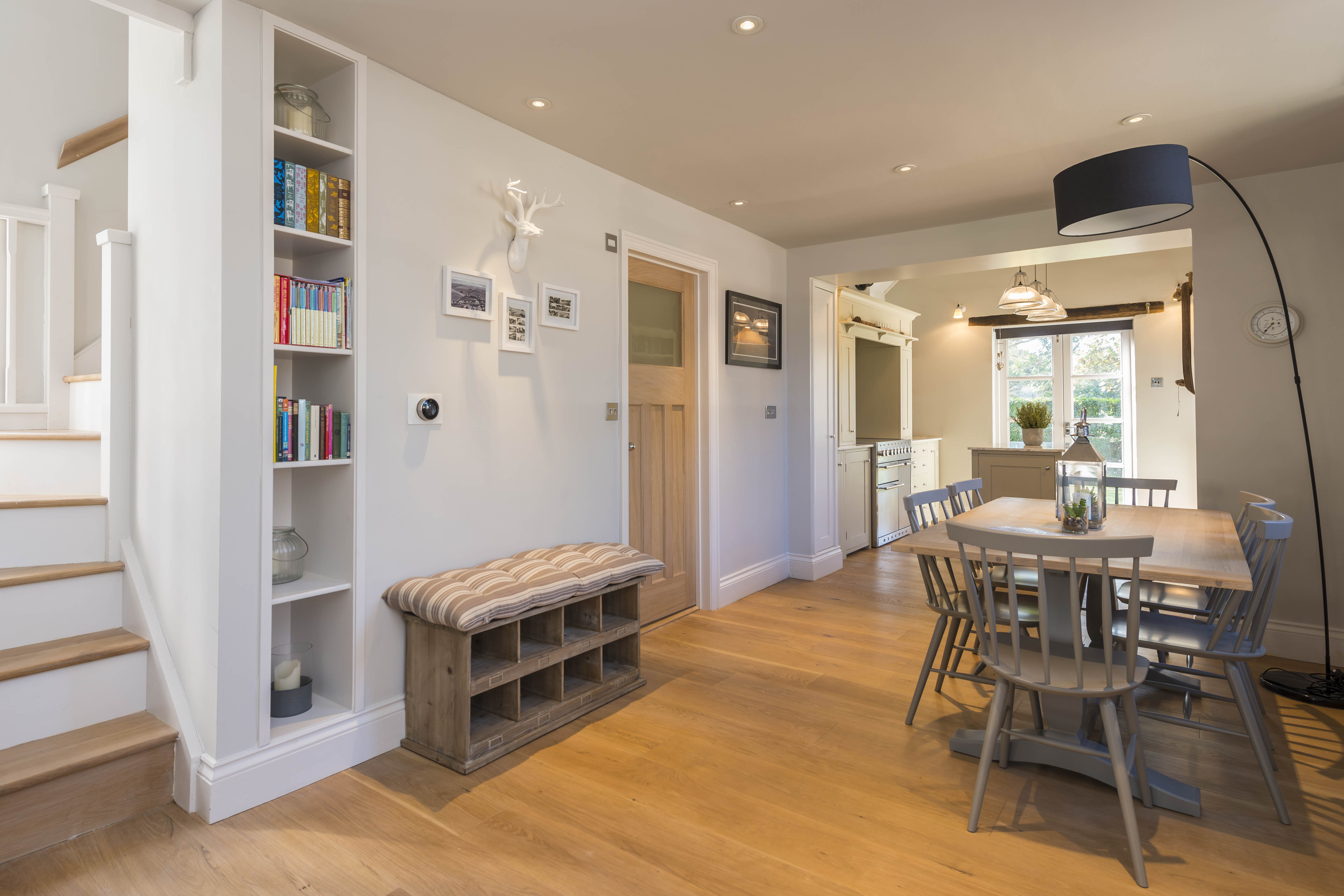Staircase & dining area in chapel conversion
