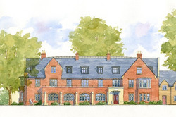 Nordon, Blandford Forum, Dorset - east elevation of new traditional apartment building