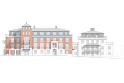 Sanditon apartments, Sidmouth, Devon - south elevation of classical brick and rendered buildings