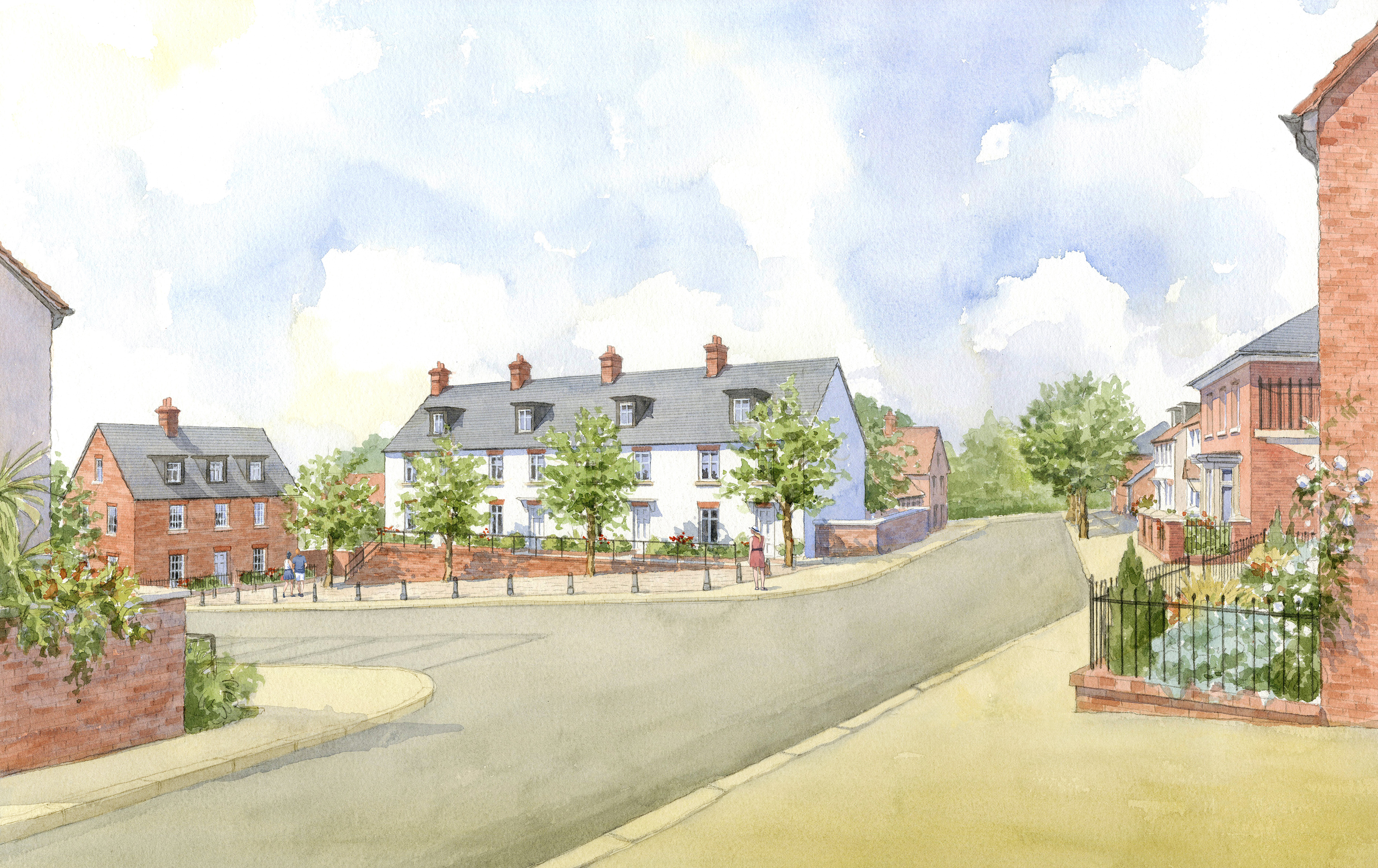 Buckinghamshire masterplan - traditional housing around a square
