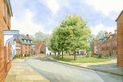 Drummond Park housing, Ludgershall, Wiltshire - village green surrounded by traditional houses