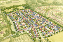 Buckinghamshire masterplan  - aerial view showing traditional layout of streets, squares and park