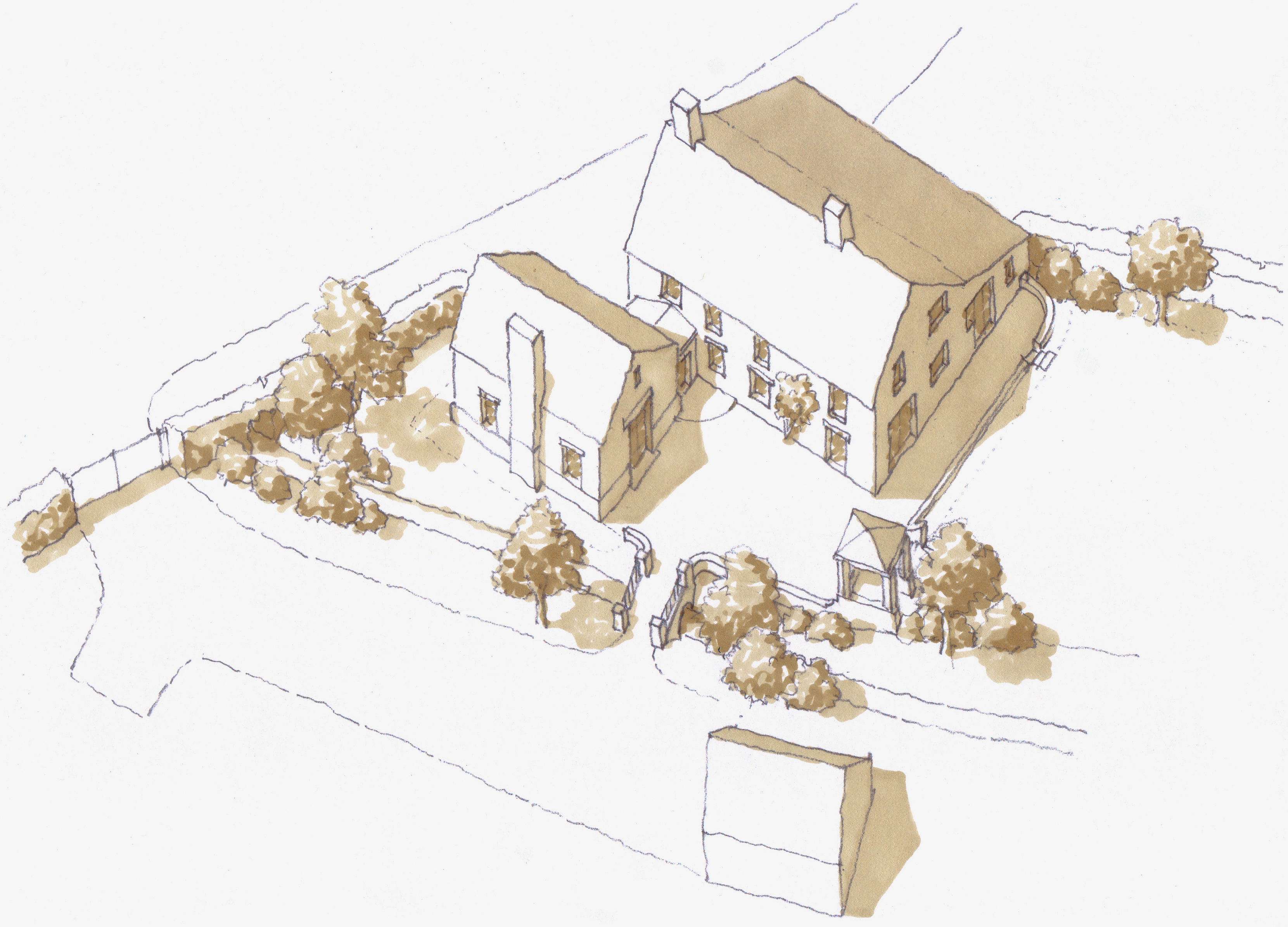 Traditional extension to a house near Langport, Somerset - sketch aerial view