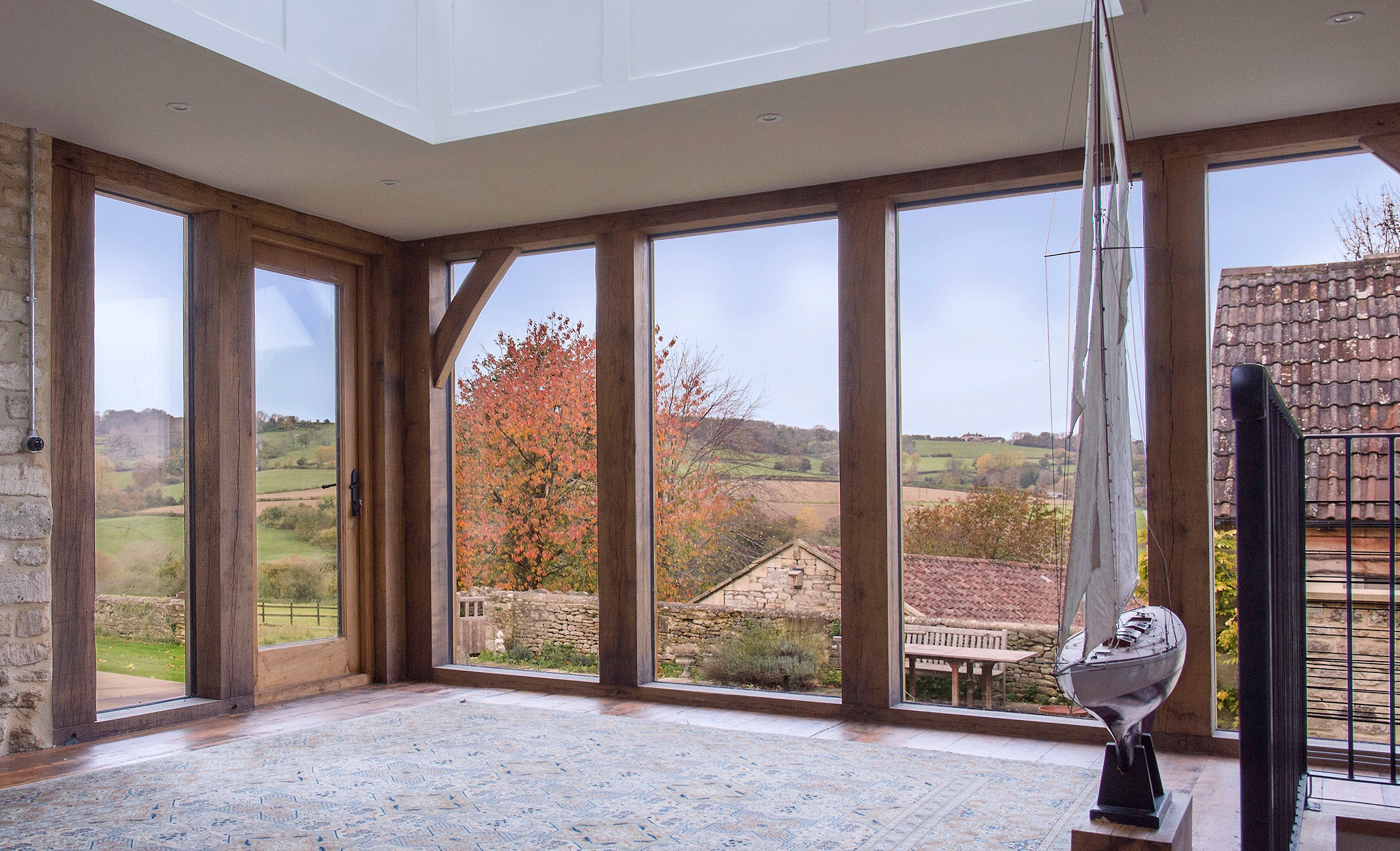 Garden room oak frame interior