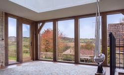 Garden room oak frame interior