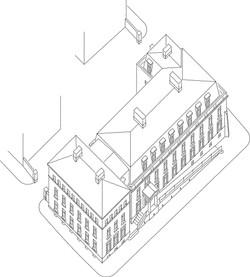 Classical office building, Duchy of Cornwall's development at Poundbury, Dorchester, Dorset