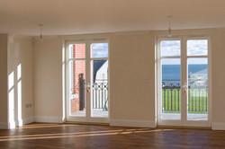 Sanditon apartments, Sidmouth, Devon - apartment interior looking towards the seafront