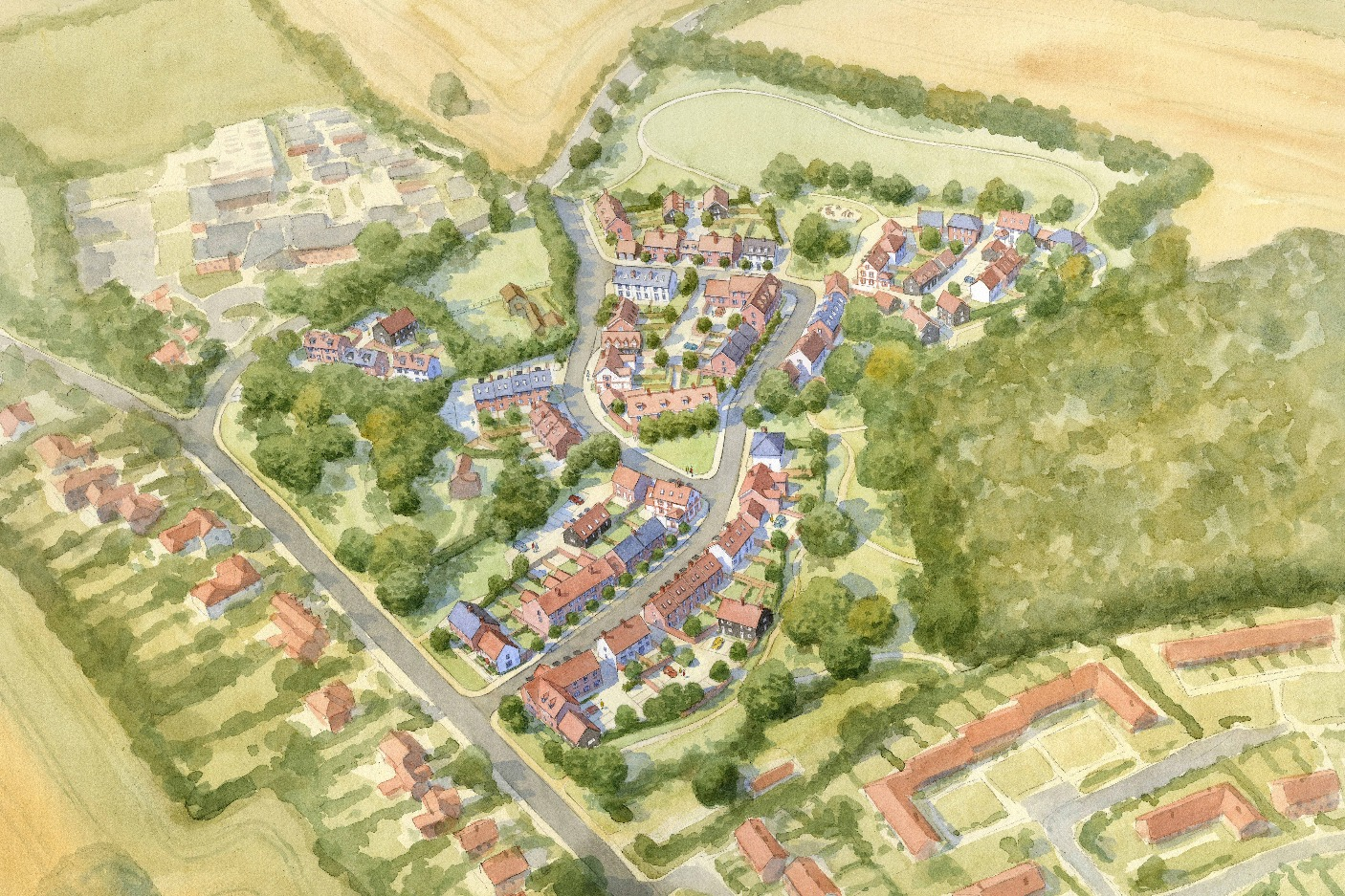Buckinghamshire village masterplan - aerial view