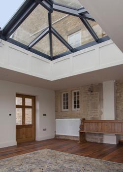 Garden room interior with lantern