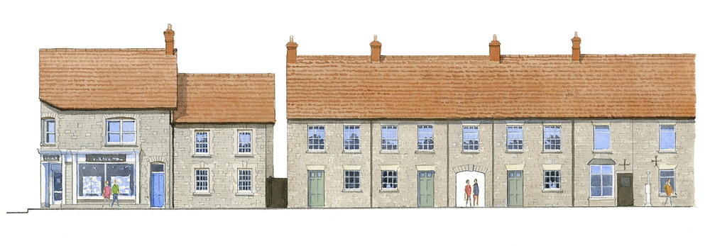 New traditional houses within the historic centre of Somerton, Somerset