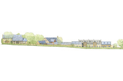 Conservation, conversion and extensions at Tail Mill, Merriott, Somerset - site elevation