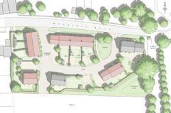 Traditional masterplan for rural housing arranged around a village green