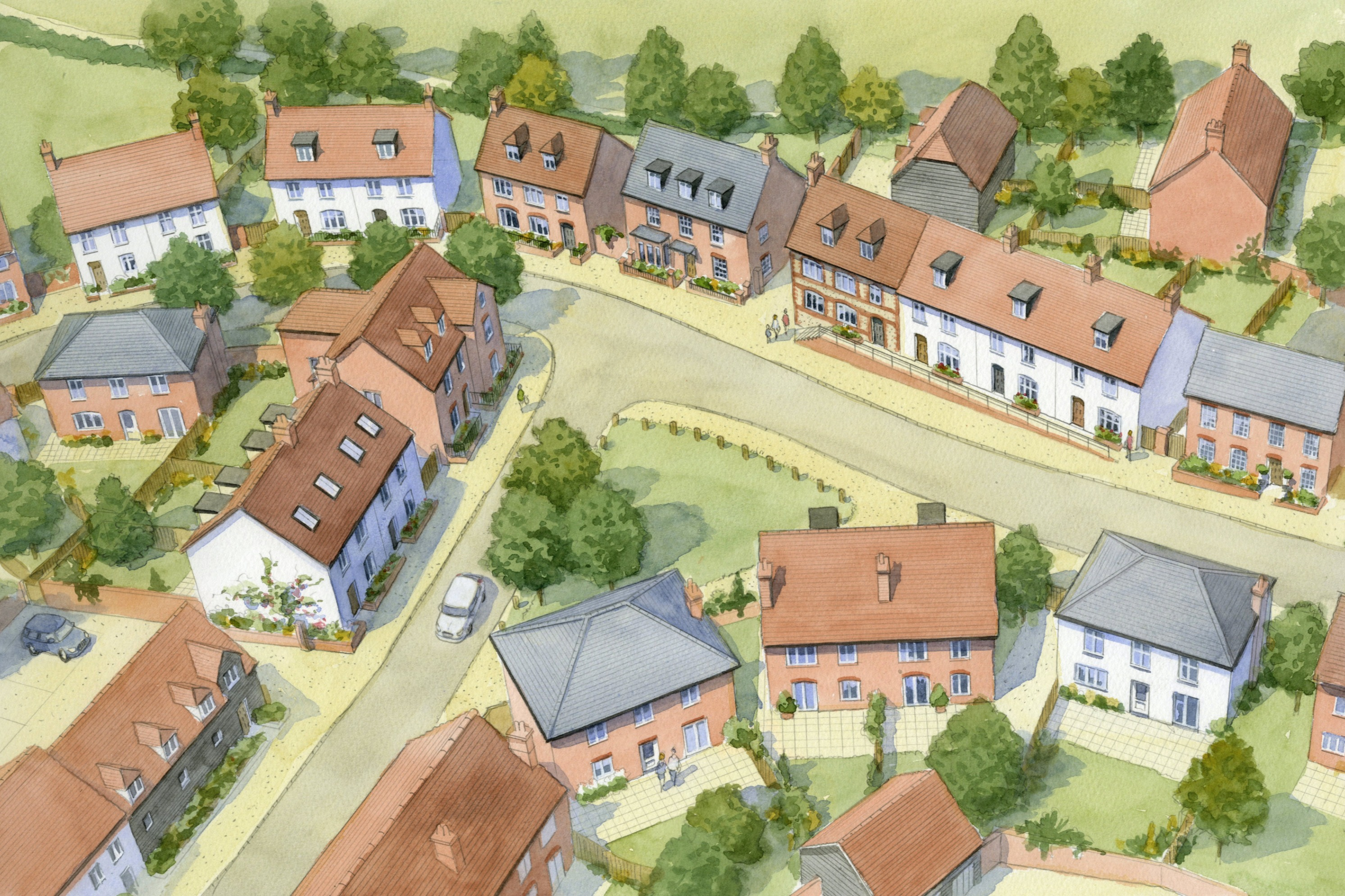 Housing masterplan, Maidenhead, Berkshire - village green surrounded by traditional houses