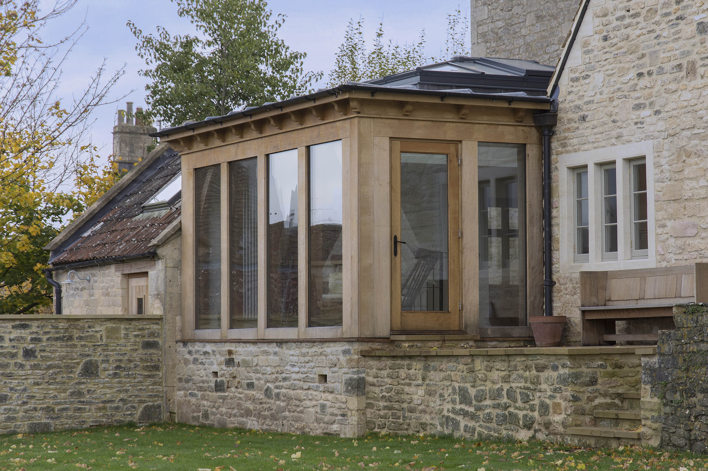 Oak frame garden room with lantern