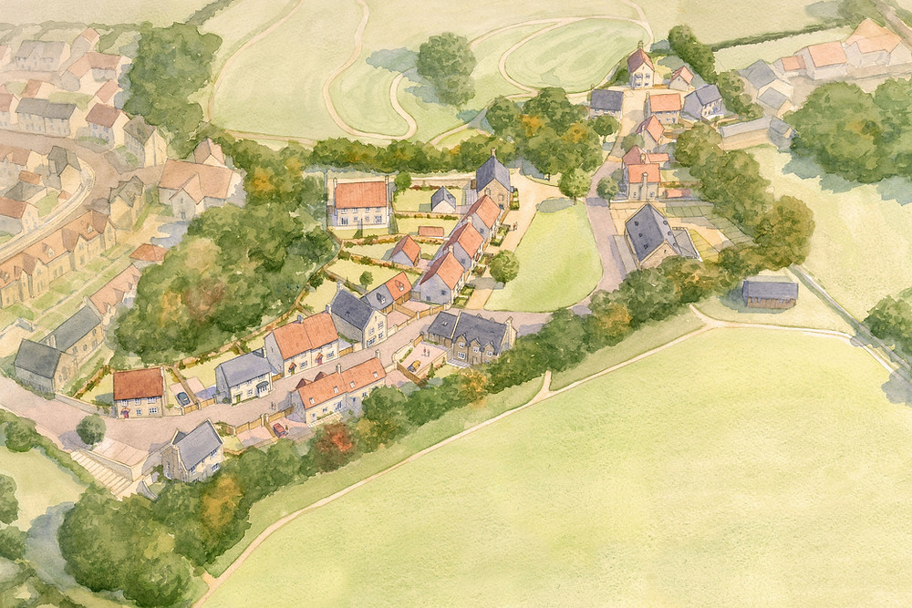 Masterplan for houses and community building within the Somerset village of Norton St Philip