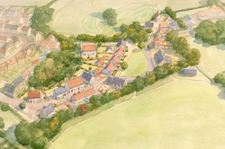 Norton St Philip, Somerset - West Site showing traditional houses and village green
