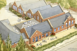 New traditional classrooms to Pen Mill School, Yeovil, Somerset - aerial