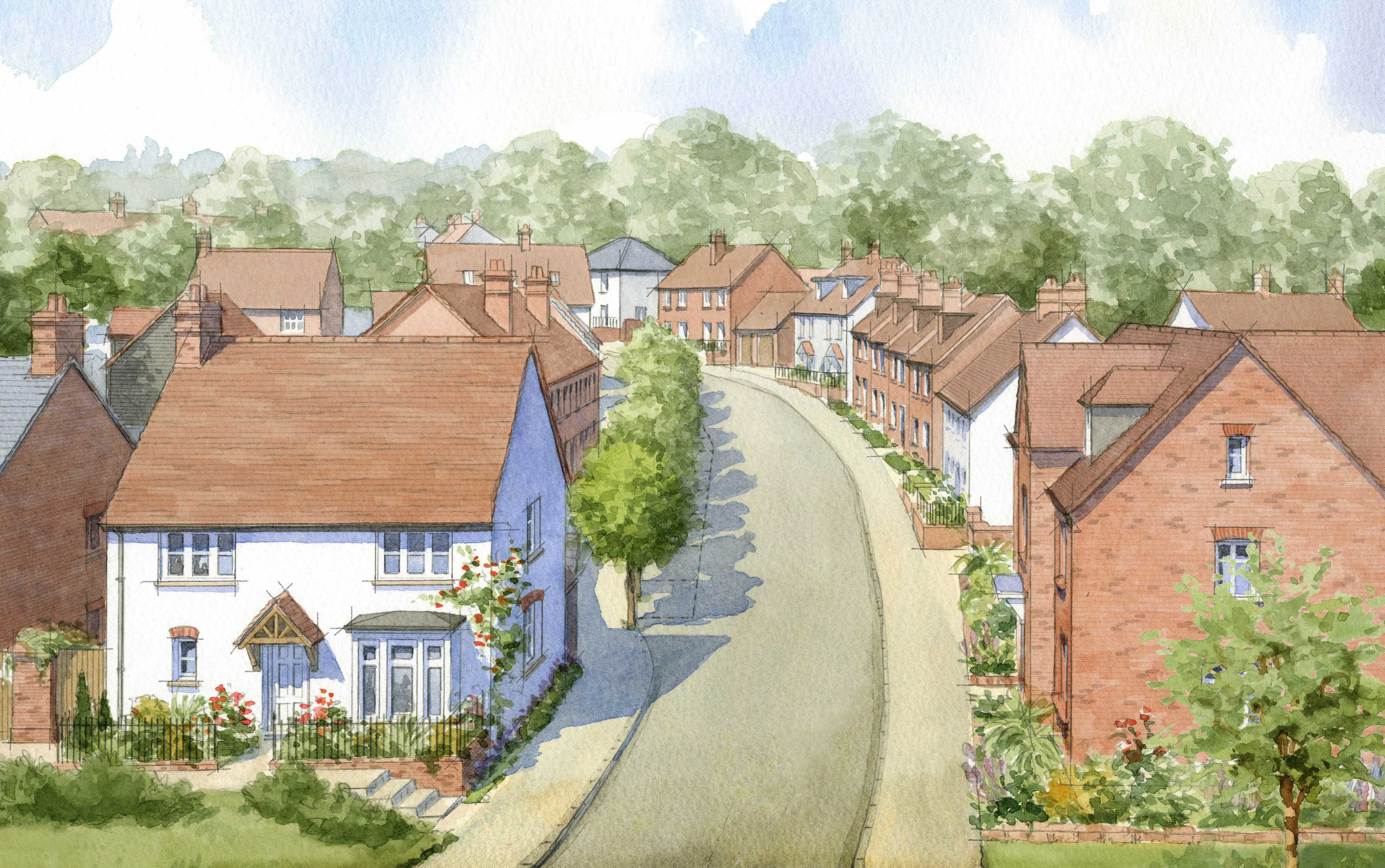 Street with traditional brick and rendered houses - Buckinghamshire